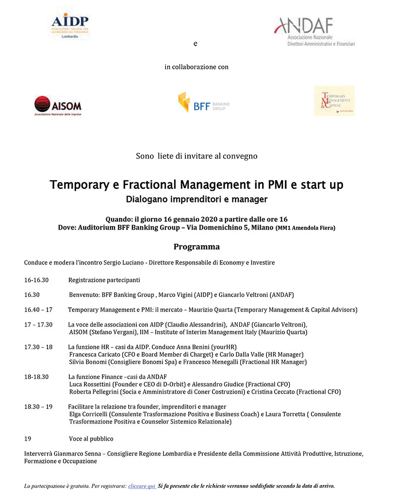 Temporary e Fractional Management in PMI e start up - Milano 16 gennaio 2020